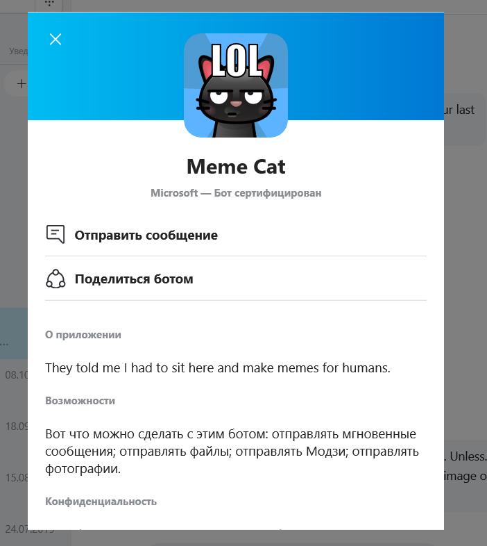 chatbot skype mem cat
